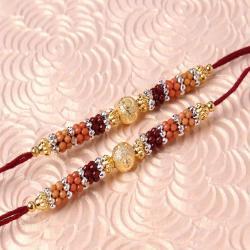 Twin Colorful Designer Beads Rakhi