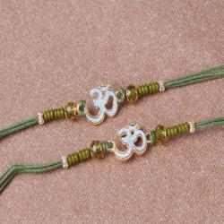 Two Rakhi of Crystal Beads with Om Divine