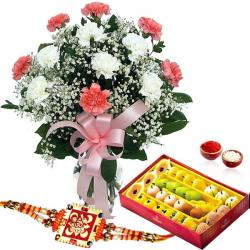 1 Kg Sweets and Rakhi with Flower Vase