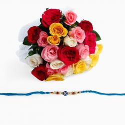 25 Mix Roses with Rakhi