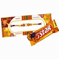 5 Star Cadbury Bar Pearl Rhinestone Beads with wooden Beads Rakhi