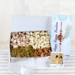 500 Gms Assorted Dry Fruits Box with Designer Rakhi