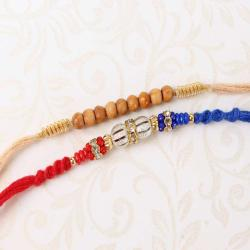 Amazing Combo of Two Shiny and Wooden Beads Rakhi