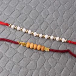 Artificial Pearl and Wooden Rakhi