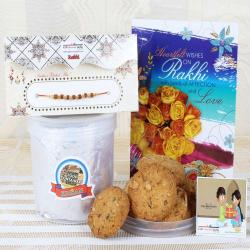Assorted Dry Fruit Cookies with Rudraksha Rakhi Combo