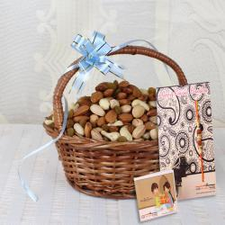 Assorted Dry Fruits Handle Basket with Rakhi