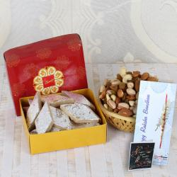 Assorted Dry Fruits with Kaju Katli and Rakhi