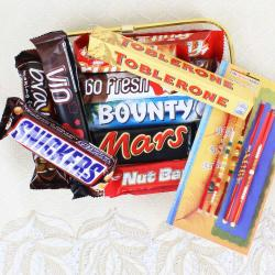 Assorted Imported Chocolates with Five Rakhis Online