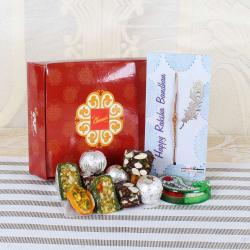 Assorted Sweets with Wooden Rakhi Hamper - UAE