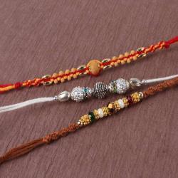 Attractive Beads Three Pack of Rakhi