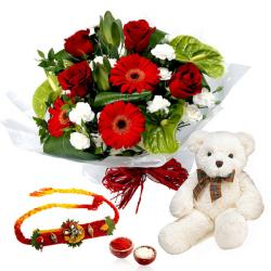 Attractive Bouquet with Rakhi and Teddy Bear