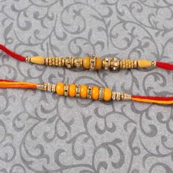 Attractive Diamond Pearl Bead Rakhi