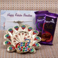 Attractive Peacock Rakhi Thali with Cadbury Dairy Milk Silk Chocolate