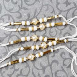 Attractive Single Pearl Beads Five Rakhi Set