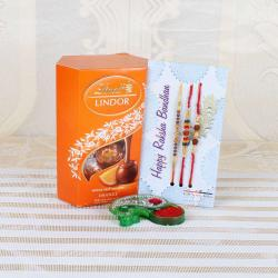 Attractive Three Rakhi with Lindt Lindor Orange Chocolate