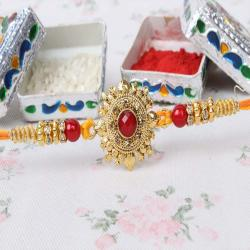 Auspicious Traditional Design Kundan Rakhi