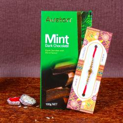 Auston Mint Chocolate with Golden Beads Rakhi