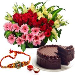 Basket of Flowers and Cake with Rakhi