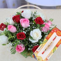 Basket of Mix Color Roses with Rakhi