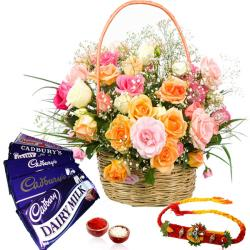 Basket of Roses and Rakhi with Dairy Milk Chocolates