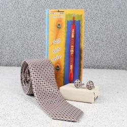 Beige Brown Weaved Tie and Cufflink with Rakhi Combo
