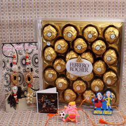 Bhaiya Bhabhi with Kids Rakhi and Ferrero Rocher Chocolate