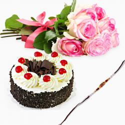 Black Forest Cake with Pink Roses and Rakhi
