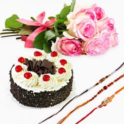 Black Forest Cake with Pink Roses and Three Rakhi