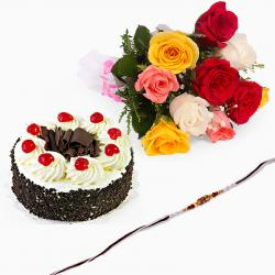 Black Forest Cake with Rakhi and Roses