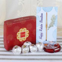 Bon Bon Sweets with Tiny Wooden Beads Rakhi - UAE