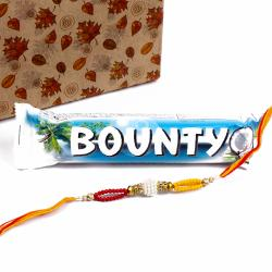 Bounty Chocolate with Rakhi of Colorful Small Beads