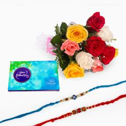 Bouquet of 10 Mix Roses and Celebration Pack with Two Rakhi
