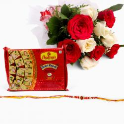 Bouquet of 10 Roses with Soan Papdi and Rakhi