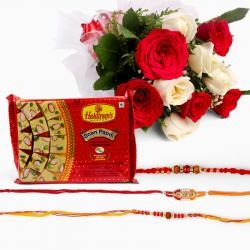 Bouquet of 10 White and Red Roses with Soan Papdi  and Set of 3 Rakhi