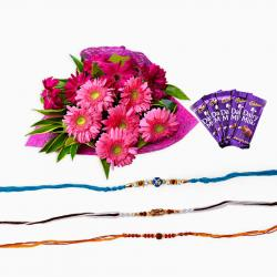Bouquet of 12 Gerberas with Chocolate and Rakhi