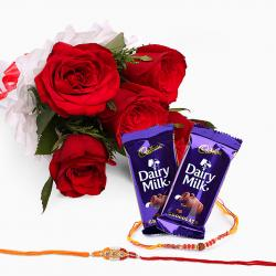 Bouquet of 6 Red Roses and Dairy Milk with Set of Two Rakhi