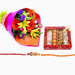 Bouquet of Flowers with Rakhi and Assorted Sweets