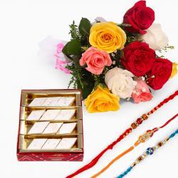 Bouquet of Mix Roses with Kaju Katli and Set of Three Rakhis