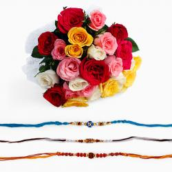 Bouquet of Mix Roses with Three Rakhi