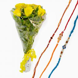 Bouquet of Yellow Roses With Set of Three Rakhi