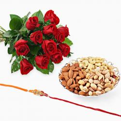 Bouquet Roses with Rakhi and Dry Fruits