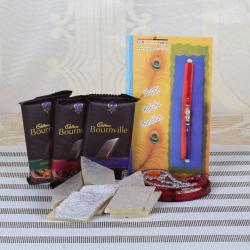 Bournville Chocolate with Kaju Katli and Designer Rakhi-USA
