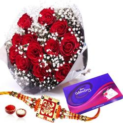 Cadbury Celebration Chocolates Pack and Roses with Rakhi