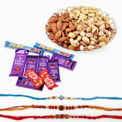 Cadbury Chocolates with Rakhi and Dry Fruits