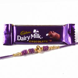 Cadbury Dairy Milk chocolate bar with Fancy Beads Rakhi