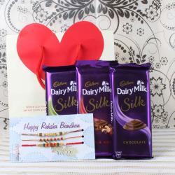Cadbury Dairy Milk Silk Chocolate Bars with Three Rakhis