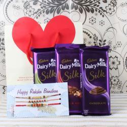 Cadbury Dairy Milk Silk Chocolate Bars with Three Rakhis