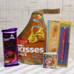 Cadbury Silk and Hershey's Kisses with Tiny Beads Rakhi