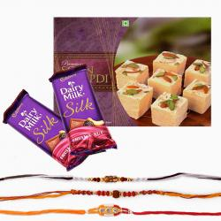 Cadbury Silk Chocolate with Rakhi and Soan Papdi