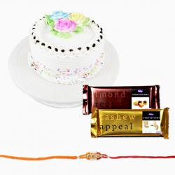 Cake with Rakhi and Tempatations Chocolates